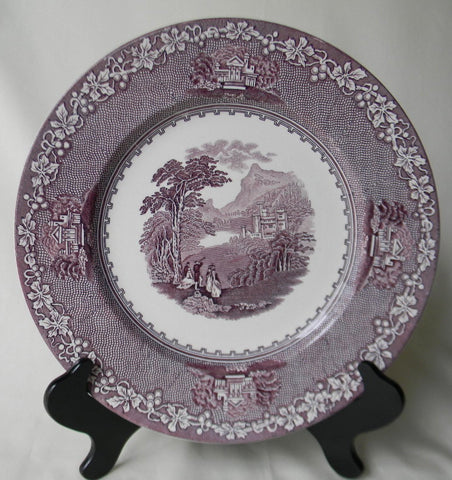 Mountain and Castle Scene Purple Toile Transferware Candy Dish / Sauce Bowl Jenny Lind Royal staffordshire