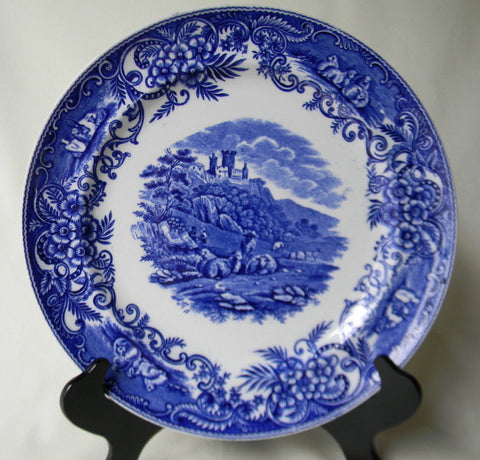 Rare Antique Blue and White China English Transferware  Charger / Plate Pastoral Grazing Sheep Scrolls Castle