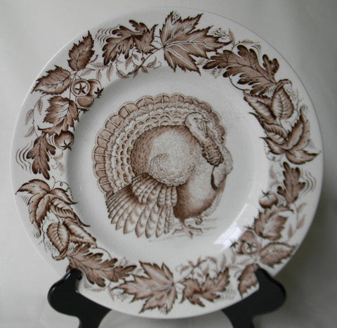 Thanksgiving Dinner Plate Tom Turkey Brown Transferware Plate / Charger Royal Staffordshire Clarice Cliff  Autumn Foliage 6 available