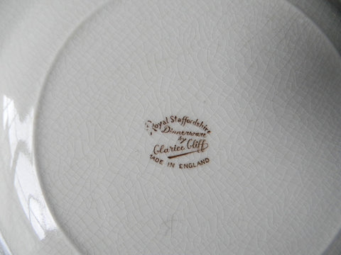 Thanksgiving Dinner Plate Tom Turkey Brown Transferware Plate / Charger Royal Staffordshire Clarice Cliff Autumn Foliage & Thanksgiving Dinner Plate Tom Turkey Brown Transferware Plate / Charge