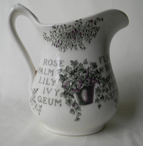 Green Transferware Pitcher Victorian Garden Theme Pot of Ivy and Flowers