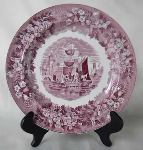 Wedgwood Ferrara Plum Purple Transferware Plate Clipper Ship Scene with Stunning Blue Bells Phlox Border Nautical Decor Sailing Decor