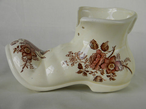 English Staffordshire Brown Polychrome Transferware  Flower Pot Boot Shaped Planter Roses