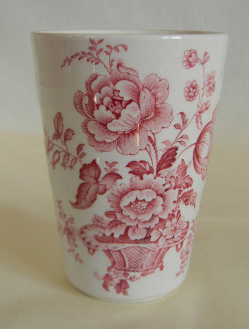 Vintage Red English Transferware Tumbler Juice Glass Cup Charlotte Basket of Roses
