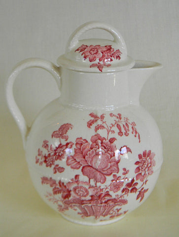 Red Transferware Pitcher Coffee Teapot or Hot Water Pot Charlotte Basket of Roses