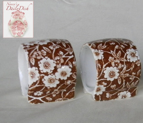 Set of 2 English Transferware Brown Calico Chintz Floral Napkin Rings RARE