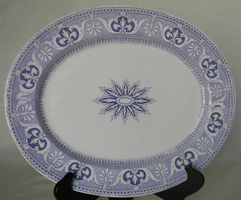 Antique English Victorian Transferware Lavender Platter Kaleidoscope Scrolls Shells Star Purple Transferware