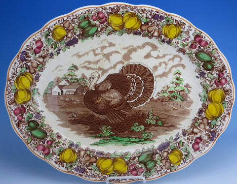 Antique / Vintage English Staffordshire China HUGE Turkey Platter Barker Brothers Thanksgiving Dinner Turkey Platter Brown Transferware