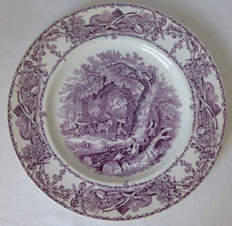 Rural Scenes Purple Transferware Dinner Plate Mother Children Dog Woodcutter English Transferware