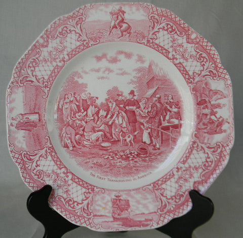 Red / Pink Transferware Plate The First Thanksgiving Colonial Times American History / Historical Staffordshire