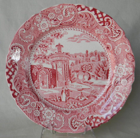 "Red Transferware 8"" Salad Plate Strolling Couple Gazebo Geometric Border Landscape"