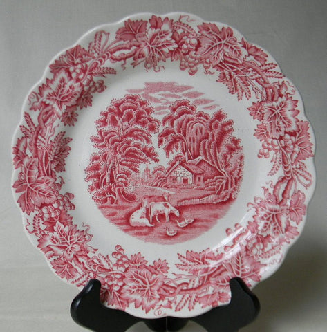Vntg Red Transferware Plate Grapes Vines Cottage Ducks Grazing Cows / Cattle