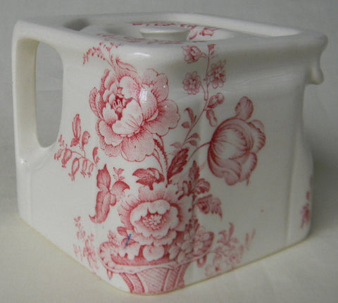 English Square Cube Teapot Charlotte Red Transferware