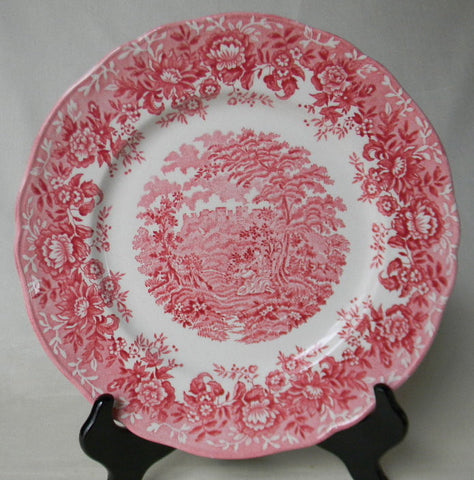 Vintage Red Transferware Plate Romantic Victorian Picnic and Courtship with Roses and Floral Border Valentines