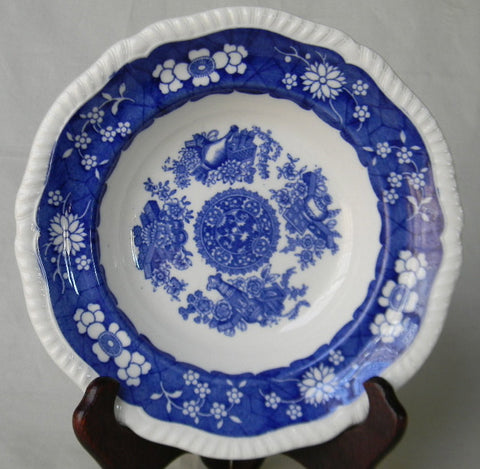 Blue and White China Copeland Spode Trophies Cobalt Blue English Transferware Rimmed Salad / Soup Bowl Vintage