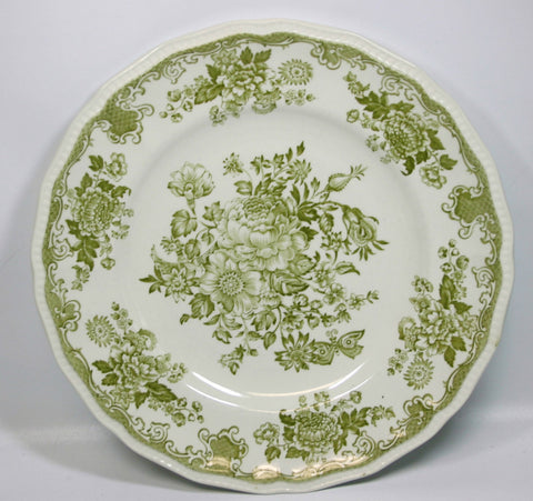 Olive / Sage Green Transferware Plate Roses Bird Butterfly