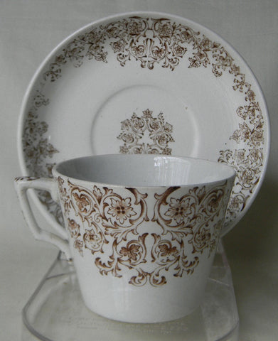 Aesthetic Brown Transferware Teacup and Saucer Empress Victorian Pottery Staffordshire China England Scrolls & Vines