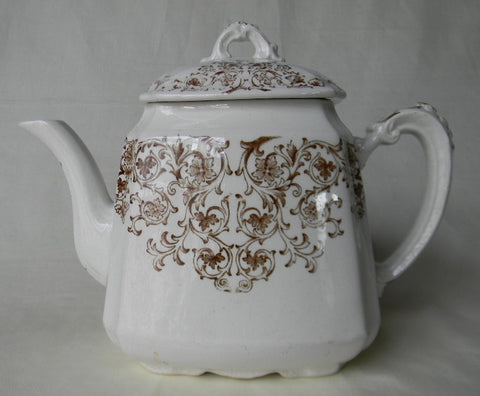 Antique English Victorian Teapot Aesthetic Brown Earthenware Transferware Tea Pot Teapot Scrolls & Vines Empress Staffordshire England