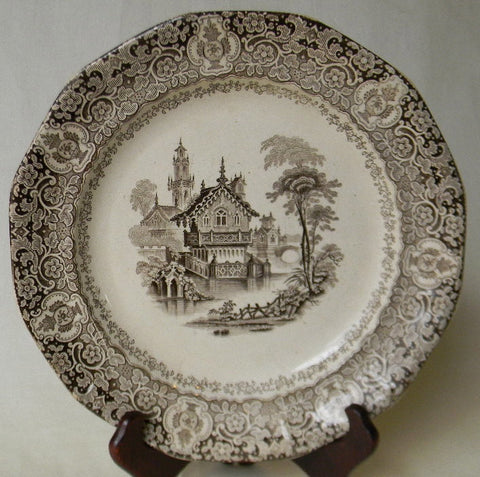 English VictorianBrown Transferware Plate Swiss Chalet on a Lake Podmore Walker Warwick Circa 1834 - 59
