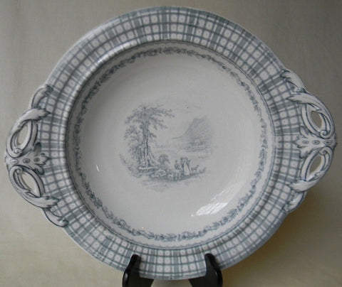 Teal Transferware Cauldon England - Tartan & Tab Handled Footed Cake Plate or Compote Dish Brown Westhead Moore