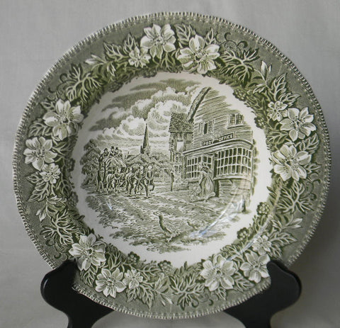 Green Transferware Plate English Coaching Scenes Geese Flowers Post Office