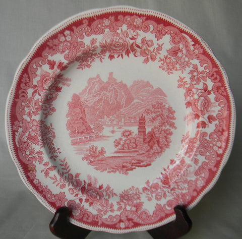 Romantic English Red Transferware Plate Spode Copeland  Rhine River