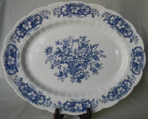 Blue and White China Large Vintage Ridgway Blue Transferware Platter Victorian Basket of Roses and Flowers English Ironstone