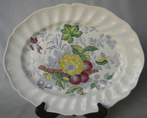 Blue Transferware English Ironstone Serving Platter Still LIfe Bowl of Fruit and Flowers Butterfly Royal Doulton