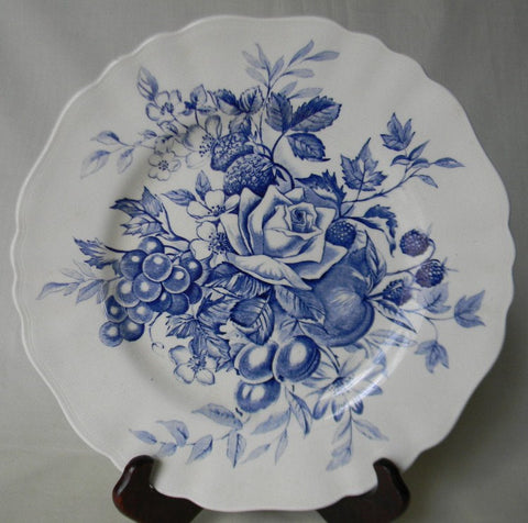 Beautiful Blue  English Transferware Plate Bouquet of  Roses Cherries Grapes Flowers Raspberries