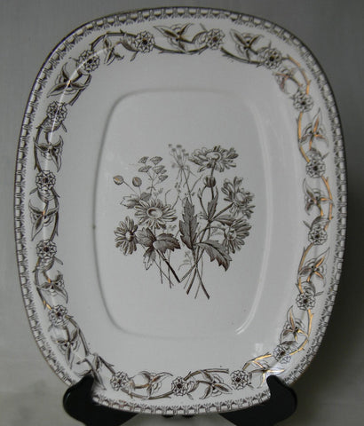 Aesthetic Brown Transferware Platter Staffordshire China Daisies Wildflowers Yosemite Circa 1883