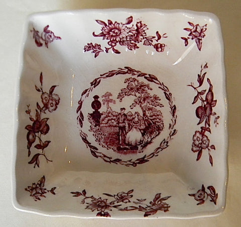 Watteau Purple Aubergine  English Transferware Square Bowl Candy or Trinket Dish Victorian Minstrels Flowers