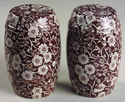Vintage Floral Brown Chintz Calico English Transferware Barrel Salt and Pepper Shakers Extra Large
