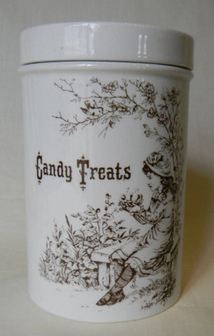 Adorable English Ironstone Candy Treats Jar Brown Print with Little Girl holding a Birds Nest Vintage Candy Jar