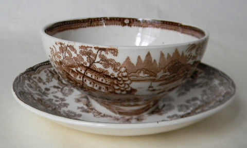 Royal Staffordshire Brown Transferware Condiment Footed Bowl and Underplate Tonquin Clarice Cliff
