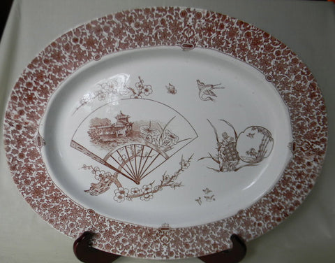 "Spode Aesthetic Movement Brown Transferware Turkey Platter  19"" Tray Cairo Birds Asian Fan Pagoda Cherry Blossoms Circa 1880"