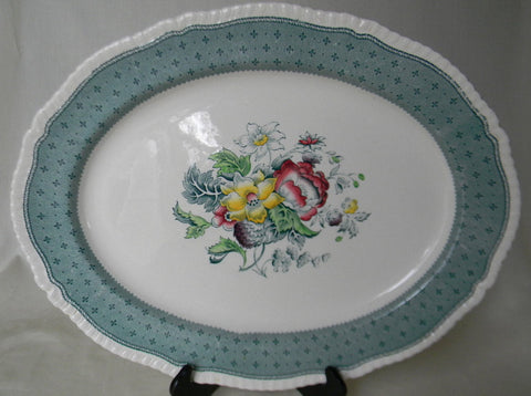 "Large 16"" Vintage English China Transferware Platter Floral Bouquet Roses Large Green Transferware Painted Flowers Cottage Kitchen Decorative Platter"