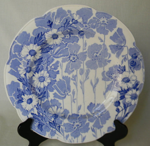 Blue Toile English Transferware Scalloped Plate Woods Daisies Floral Blue & White English China
