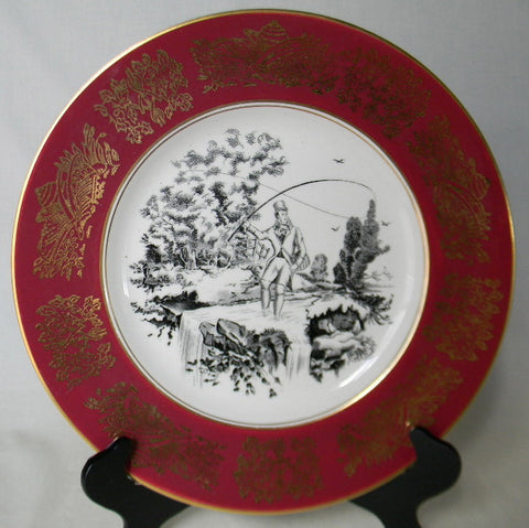 Black Transferware Vntg English Charger Plate Clarice Cliff Burgundy Border Fisherman Fly Fishing