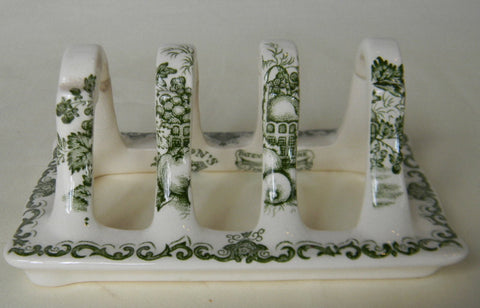 Masons Vintage English Green Transferware Toast Rack or Letter Organizer Fruit Basket