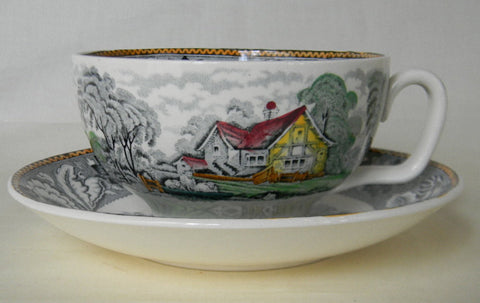 Vintage Black English Transferware Jumbo 'Joke' Cup Flower Pot Woodland Sheep Cattle Milkmaid Pastoral Farm Scene
