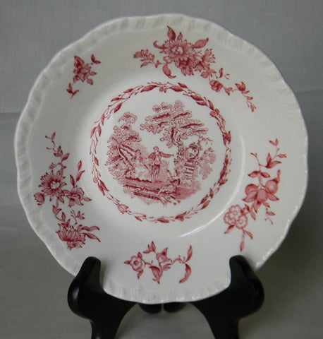 Watteau Red Transferware Candy Bowl Dish  romantic Victorian Gardens Mandolin