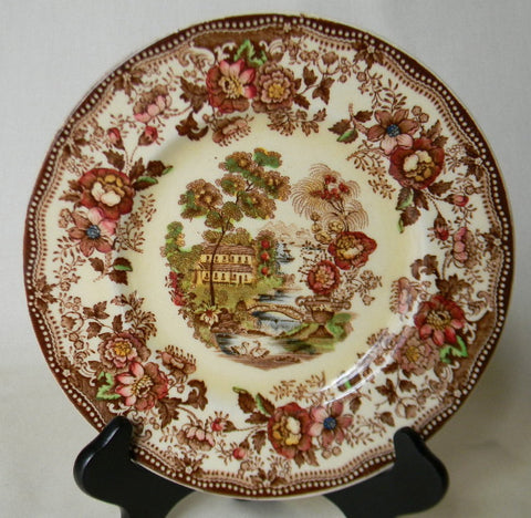 "Vintage Brown Multicolor Transferware Toile 10"" Dinner  Plate Tonquin Cottage Swans & Roses"