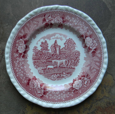 Red Transferware Plate English Rural Scenes Farm Horse and Foal English Scenic Vintage Farmhouse Decor