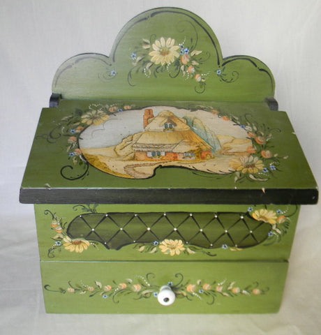 Hand Painted Green Wood Wooden Tea Caddy Jewelry Box Casket EnglishThatched Cottage Top and Tole Flowers