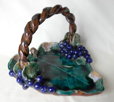 Vintage Cobalt Blue & Green Majolica Serving Handled Leaf Shape Basket w/ Brown Braided Handle and Grape Bunches