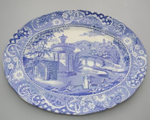 "14"" Blue Transferware Platter Strolling Couple Gazebo Geometric Border Landscape"