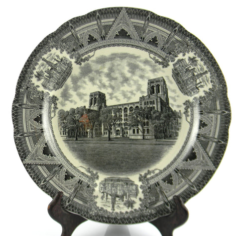 Spode Copeland Black Transferware Charger Plate Stunning Architectural Border Chicago University Billings Hospital