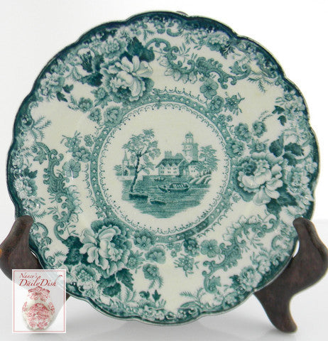 Teal Green Blue English Transferware Scalloped Plate Circa 1891 Roses Boat  Waterway