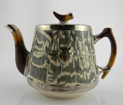 Circa 1934 Faux Bois Black English Transferware Teapot Tea Pot Silver Shield Wood Grain Antler Shaped Details STUNNING