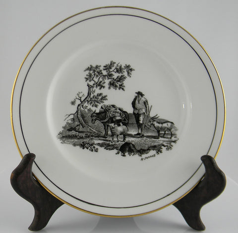 Black Transferware Staffordshire Plate - French Pastoral Scene with Billy Goat, Sheep / Lamb and Donkey